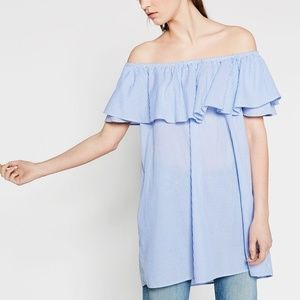 Zara Woman Denim Off the Shoulder Cover-Up Small